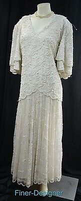 Brilliante By JA Beaded Lace Dress Ivory Bridal gown Wedding Dress bride 1X VTG
