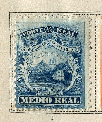 COSTA RICA;  1863 early classic issue Mint unused 1/2r. value