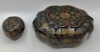 Lot Of 2 Antique Chinese Lacquered Boxes