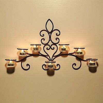 Wall Hanging Candle Holder Sconce 7 Tealight Glass Scrolled Iron Brown Decor