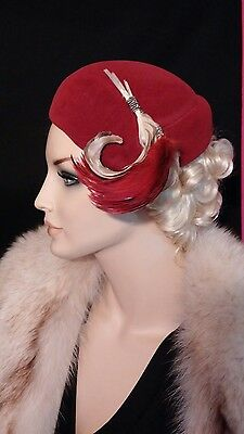 Vintage beret hat with feathers dark red white 1950s