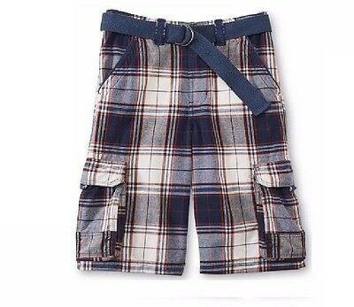 Canyon Boys Cargo Shorts Belted Twill Cotton Adjustable size 10 12 NEW