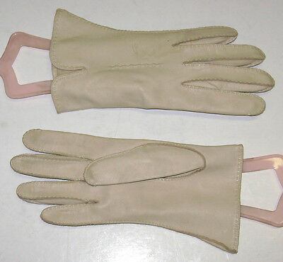 "Vintage Ladies  Leather Driving Short Cream  Gloves Size 6 1/2 Kid 8"" Long"