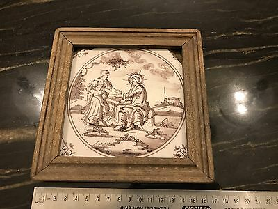 Late 17th Century Antique Dutch Tile Jesus And Mary Magdalene At The Tomb