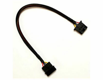 12inch 4Pin Molex Extension Black Sleeved Cable