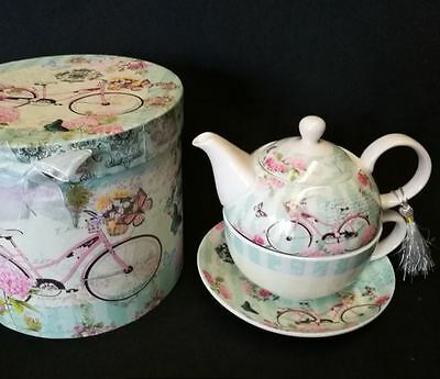 Bike with Blue Cup 3 piece TEA FOR ONE teapot and teacup set