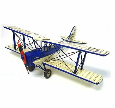 Metal Plane - Vintage Style Large Tiger Moth - Blue and White - 48cm wingspan