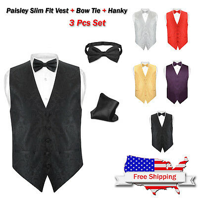 Men's Paisley Design Dress SLIM Fit Vest Bow Tie Solid Color BOWTie & Hanky Set