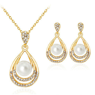 18K Gold Plated Water Drop Pearl Rhinestone Necklace Earrings Jewelry Set