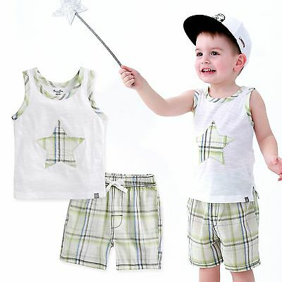 "Vaenait Baby Kids Girls Boys Clothes Sleeveles Outfit set ""Starlit Green"" 12M-7T"