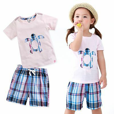 "Vaenait Baby Kids Girls Sleepwear Clothes Short Outfit set ""Turtle Pink"" 12M-7T"