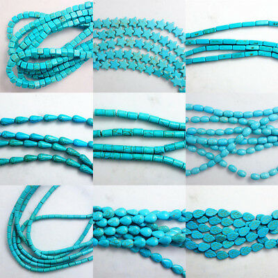 15'' Strand Wholesale Blue Turquoise Gemstone Spacer Loose Beads Charm Findings