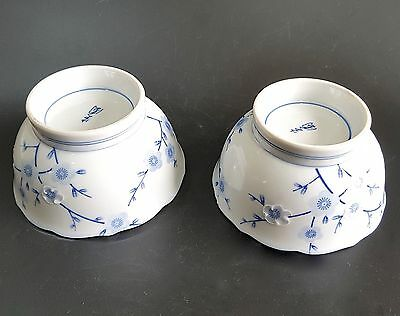Japanese Porcelain Footed Rice Soup Bowls Blue & White Prunus Blossom- Pair