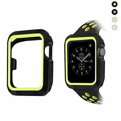 Cover Case Bumper TPU 38mm Black Yellow Accessories for Apple Watch Series 2 1