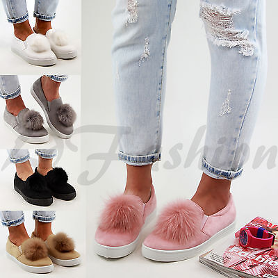 New Womens Pom Pom Suede Style Loafers Comfy Pumps Slip On Trainers Flat Shoes