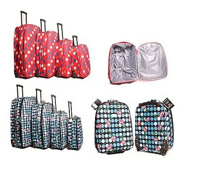 Lightweight Suitcases Wheeled Travel Polka Dot Trolley Hand Luggage Bag Case
