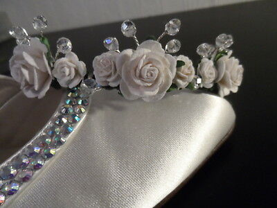 Girls First Holy Communion white rose and sparkly crystal tiara hair hairband
