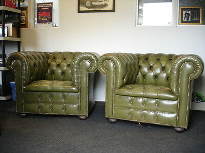 Pair of Original Chesterfield Club, Retro, Tub Chairs, Vintage from the 1970's