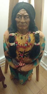 Rare native American Red Indian antique skookum doll 36 inch 3 foot tall