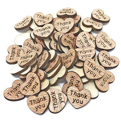 Thank You Wooden Shabby Chic Craft Scrapbook Vintage Confetti Hearts 15mm