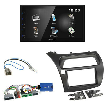 Kenwood DMX100BT Radio + Honda Civic ab 2006 2-DIN Blende schwarz + LFB-Adapter