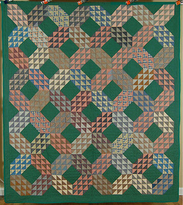 ELEGANT Vintage 20's Green Ocean Waves Antique Quilt ~Nice Gingham Fabrics!