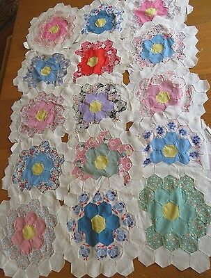 15 Vtg Grandma Flower Garden Quilt Blocks,hand Pieced,stitched Flour Sack Fabric