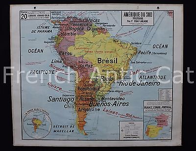 """Famous French antique school map South America Brasil Political 47*39"""" U948"""
