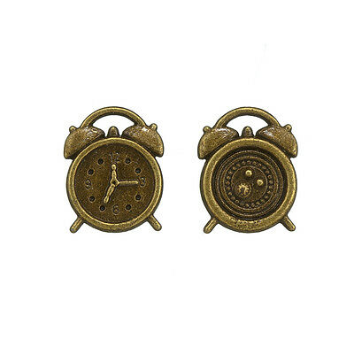 Small Alarm Clock Charms (17x13mm) Antique Bronze Pack of 2 (N75/2)