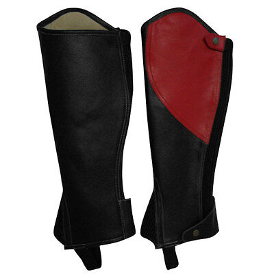 SDX Leather Half Chaps Inside Linning Amara Horse Riding Adults Black / Red