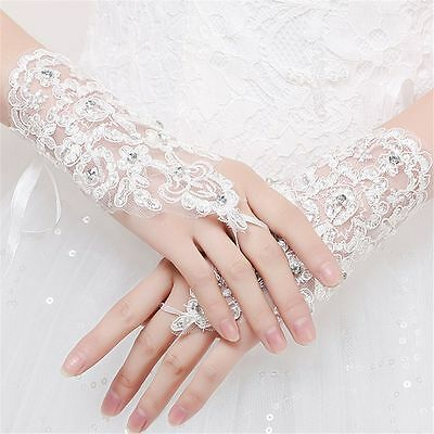 Short Paragraph Gloves Bridal Wedding Rhinestone