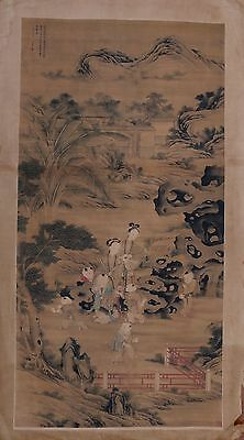 Large Rare Old Chinese Hand Painting Landscape Figures Marks PD049