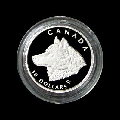 1998 Platinum Canada Proof $30 Wildlife Grey Wolf 1/10 Oz Only 1,325 Minted