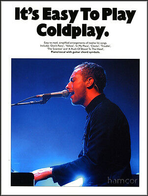 It's Easy to Play Coldplay Piano Vocal with Guitar Chords Sheet Music Book