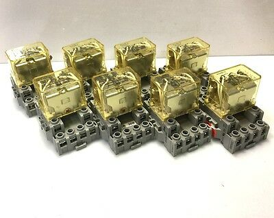 Lot of 8-IDEC RH4B-U Control Relay Contact Coil: 24VDC 10A 4PDT w/Base SH4B-05C