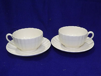 SPODE English China CHELSEA WICKER 2 White Cup and Saucer Sets
