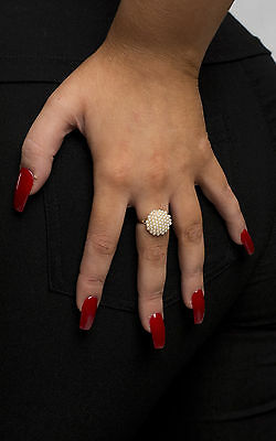 Women's Ladies Gold Pearl Delicate Glam Accessory Fashion Ring