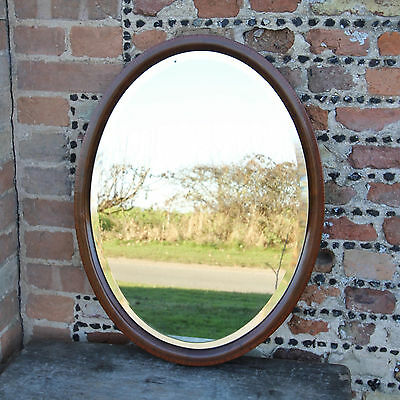 Antique Victorian Mahogany Oval Bevelled Glass Framed Inlay Wall Mirror 26 inch