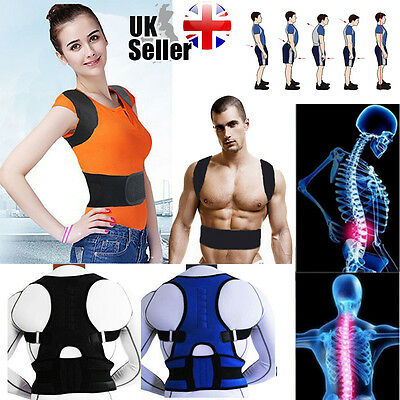 Magnetic Therapy Posture Corrector Body Back Pain Belt Brace Shoulder Support UK