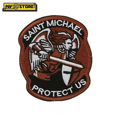 Patch Ricamata Saint Michael Protect US 8,5 x 7 cm Militare Velcrata Brown