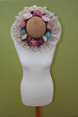 Ladies straw hat Flowers Ribbon lace Vintage Wedding Costume Easter Quality O