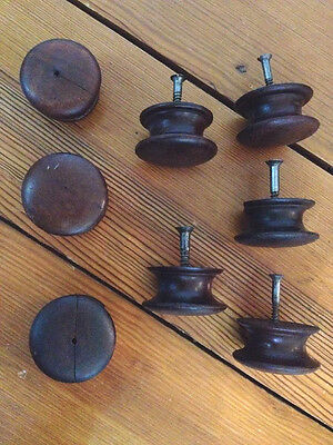 Lot 8 Round Victorian Domed Antique solid Walnut Wood Drawer Pulls Knobs 5cm 2""