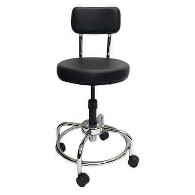 """Shopsol Round Stool with Backrest, Height 19"""" to 36""""Black, 3010011"""