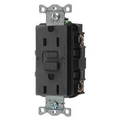 HUBBELL WIRING DEVICE-KELLEMS GFRST15BK GFCI Receptacle,15A,125VAC,5-15R,Black