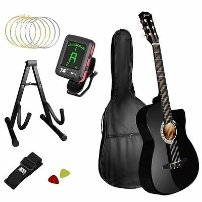 Acoustic Cutaway Guitar in Black with Steel String Stand Strap & Tuner
