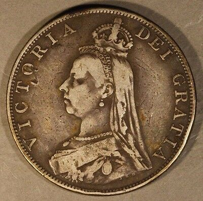 1887 Great Britain Double Florin Silver Circulated      ** FREE U.S. SHIPPING **