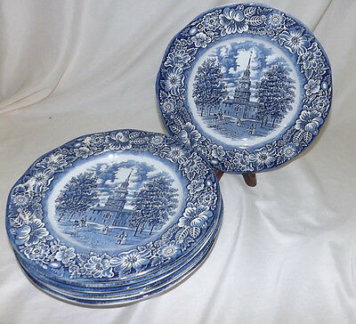 Staffordshire set of 8 Liberty Blue China Dinner Plates Independence Hall