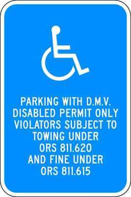 Parking Sign,18 x 12In,WHT/BL,HDCP