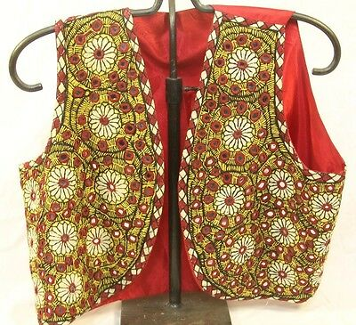 1960's Women's Boho Afghanistan Made Mirrored Stitched Ethnic Vest Size Medium