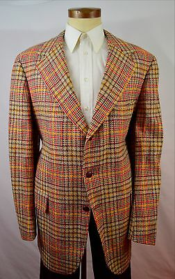 Vintage 1970s Yellow, Red and Blue Bold Plaid Wool Blazer by H. Freeman Size 46L